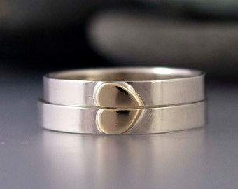Two Tone Gold Heart Wedding Band Set - 3mm wide One Love rings in 14k White Gold with a Yellow Gold Heart