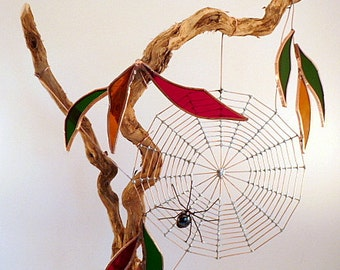 Spider Web and Spider For Desktop Large Handmade Fall Driftwood Perfect for Entomologists and Bug Lovers