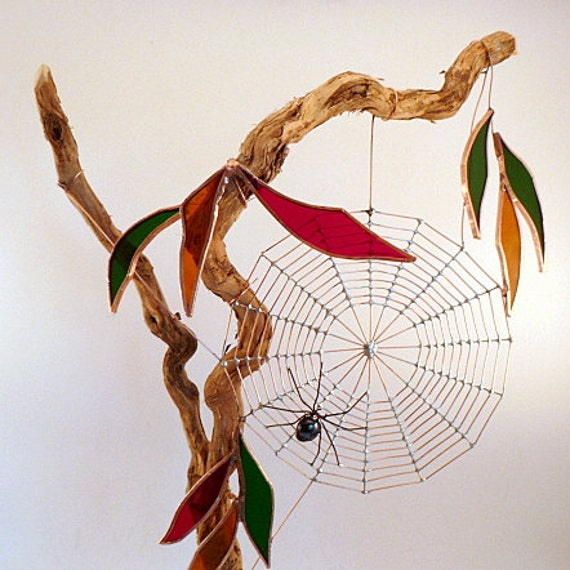 Unique Piece of Nature Driftwood With Spider Web and Spider One of a Kind Stained Glass and Wire Structure Office Desktop or Den Decor