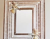 Unique Beach House/Nautical Solid Wood Mirror with Embellished with Seashells
