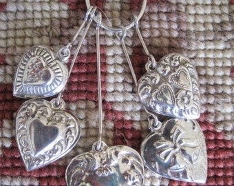 Vintage Repro Sterling Silver Charm Holder with Five Puffy Heart Charms Pendant Necklace Bridal Wedding FREE SHIP