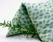 Aromatherapy Eye Pillow - green leaf patterned cotton, washable slip cover - yoga, spa, birthday