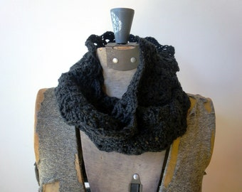 Infinity Scarf - crocheted lace - Charcoal Grey merino wool, super soft - neck warmer - neck cowl