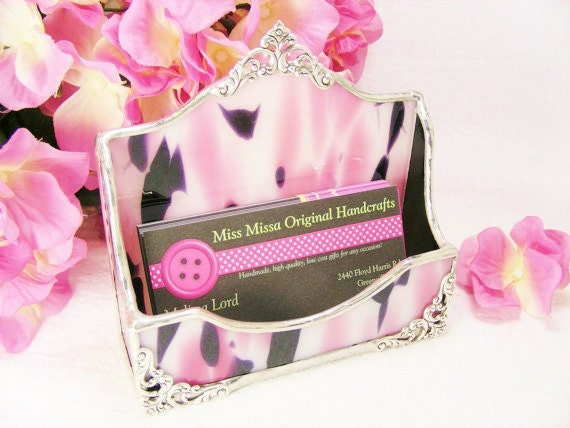 Pink Polkadot and Black Business Card Holder