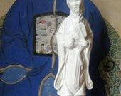 Vintage Mid Century Asian Chinese Ceramic Figurine Statue Chinoiserie Blanc de Chine