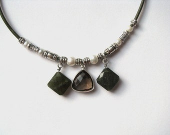 Leather Necklace with Sterling Bezel Smokey Quartz and Olive Green Vesuvianite Idocrase