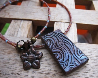 SALE - Waves rectangle pendant necklace - copper and misty blue polymer clay and glass