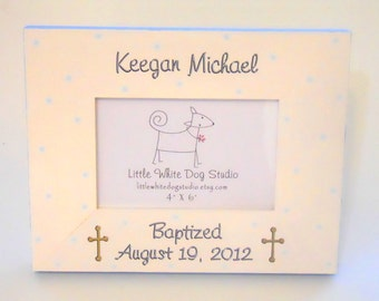 Baptism or First Communion Picture Frame Pesonalized with Cross