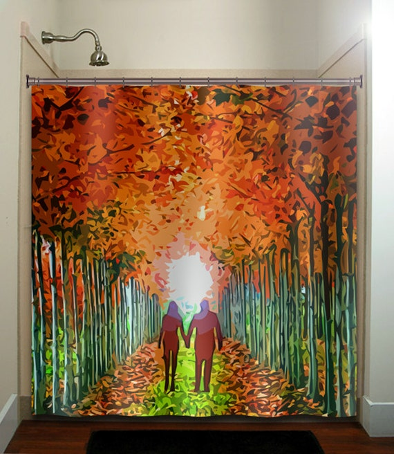 Lovers lane couple autumn color birch tree by tablishedworks for Fall bathroom sets
