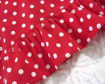 Ruffled Li'L Pillowcase for 12x16 or 14x20 Travel Toddler Boudoir Lumbar Pillow Cover - Red White Polka Dots ...Other colors made to order