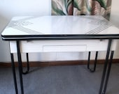 Vintage Black And White Porcelain Top Table