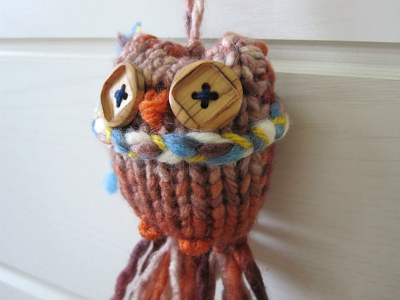 Owl Ornament- multi colored knited winter owl with scarf