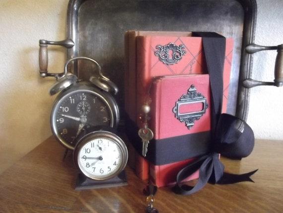 Embellished Vintage Books, cinnamon, red ,orange, hardcover bundle, collection, bookmark, home decor