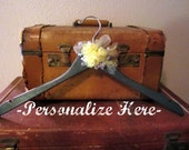 one of a kind embellished GREY and YELLOW wedding dress hanger add a wire word for no charge