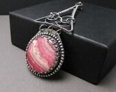 Silver wire wrapped pendant, pink rhodochrosite, wirework,metalwork, vintage style