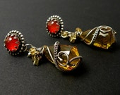 Luxury silver wire wrapped earrings with citrine , carnelian , gold pyrites , wirework , metalwork