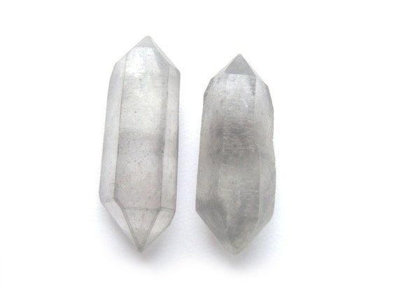 Rare Pale Grey Raw Quartz Crystal Point Stud Earrings