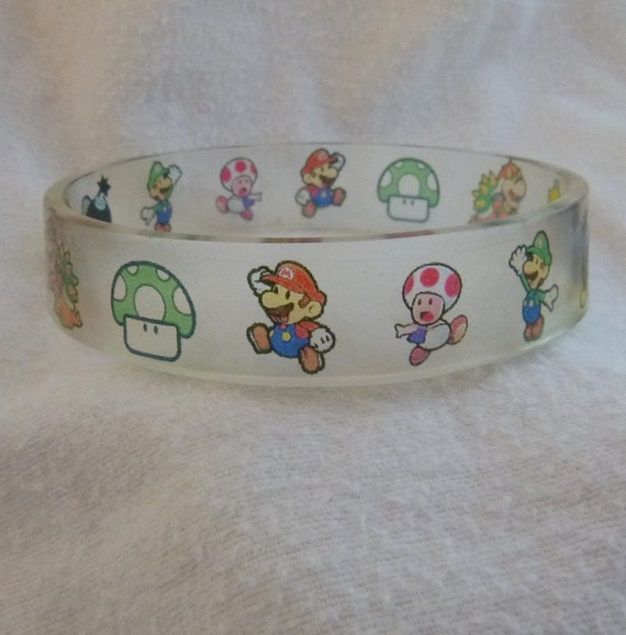 SUPER MARIO BROTHERS Bangle Bracelet Resin, Retro with Princess, Toadstool and more, Cute, Unique