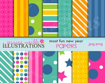 Most Fun New Year Cute Digital Papers for Invitations, Card Design, Scrapbooking, and Web Design