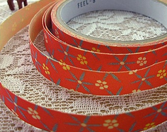 Hanabi Red Floral Adhesive Fabric Tape (0.6in)