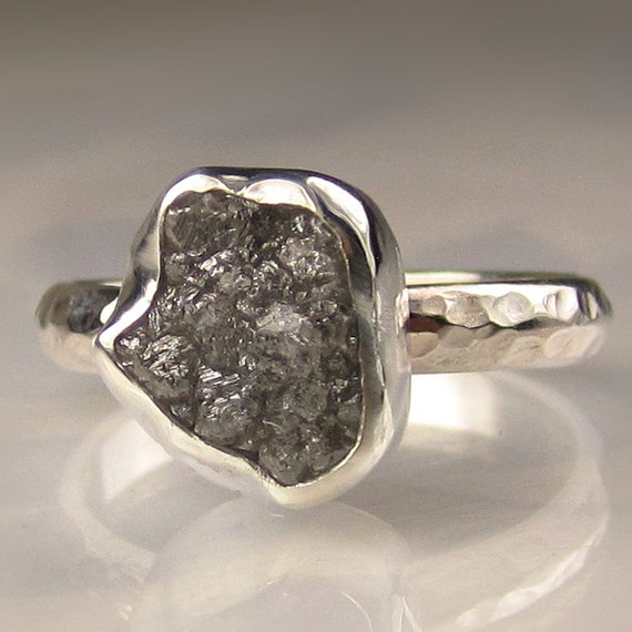 Rough Diamond Engagement Ring - Recycled Palladium Sterling Silver - 3.4CTS