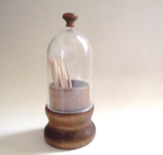 Vintage Wooden Toothpick Holder With Clear Plastic Dome Lid