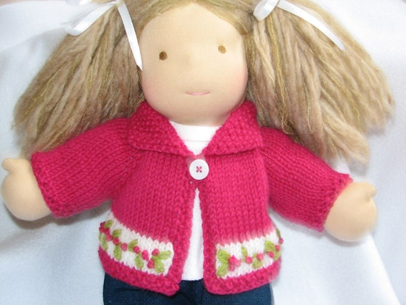 CUSTOM ORDER for CATHERINE only Doll Sweater and Three Undies in Pink White and Blue