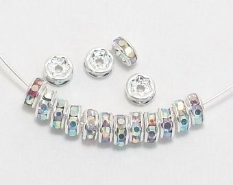 6mm Clear AB Silver Plated Rhinestone Rondelle Spacers w/Mideast Stones (100)