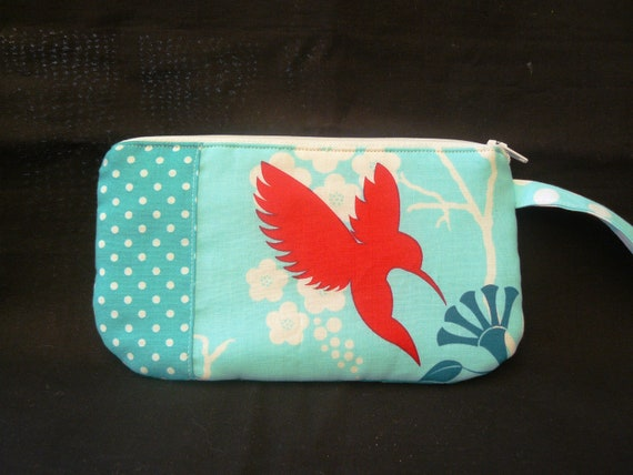LAST ONE Zipper pouch Aqua blue with a red honey eater bird WRISTLET dots.....last one