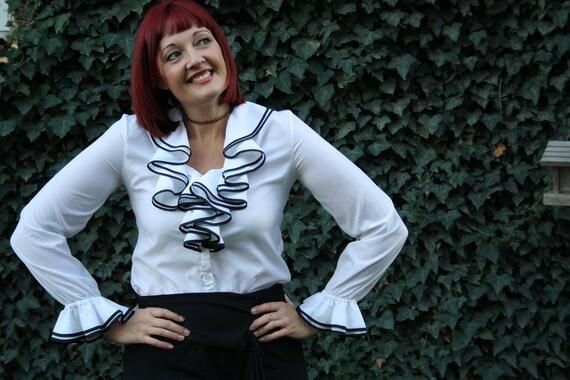 white ruffle blouse 80s tuxedo goth steampunk plus size size x large