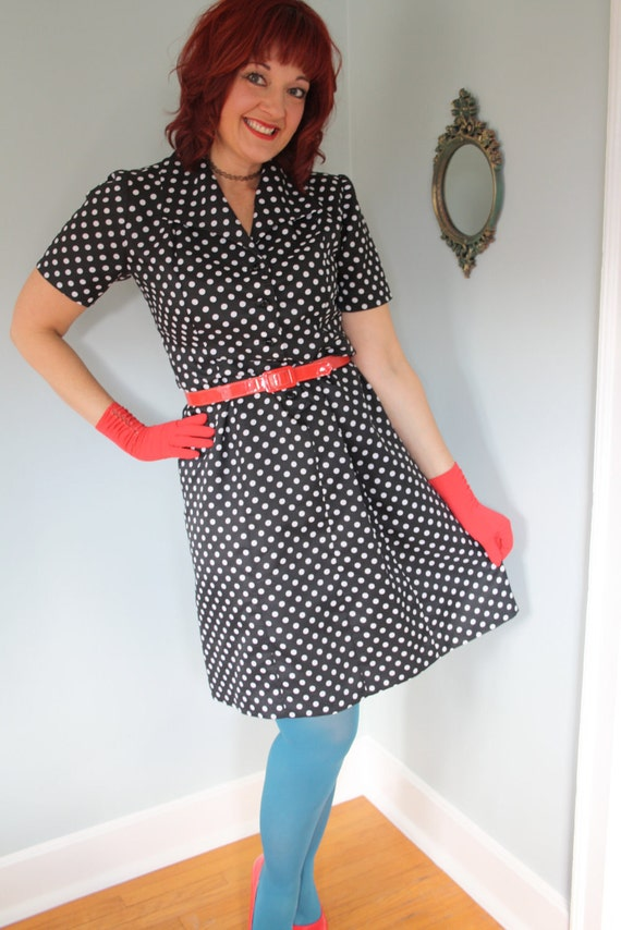 60s plus size dress black and white polka dot pin up bombshell vlv rockabilly size large