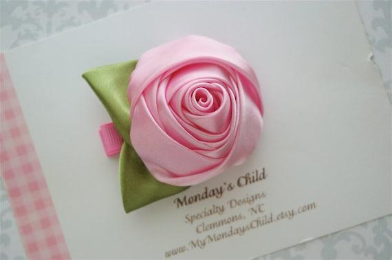 Pink Satin Rose Flower Hair Clip