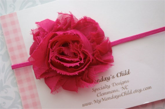 Shabby Chic Headband in Raspberry  - Baby Headband, Newborn Headband, Baby Girl Headband, Toddler Headband, Girls Headband
