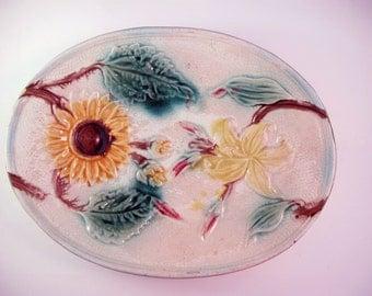 Vintage Majolica Sunflower Platter