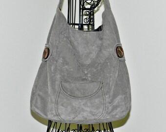 Light Brown Bucket Bag, Medium Brown Shoulder Bag, Taupe Purse, Ultrasuede,Medium to Large Size, Handmade, Outside Pocket