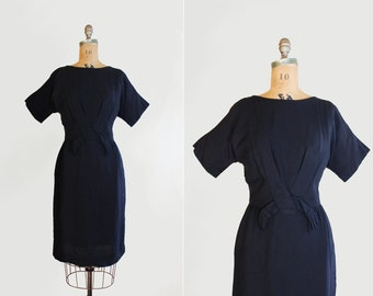 1960s dress - 60s wiggle dress medium - vintage little black dress - mad men dress 8 10