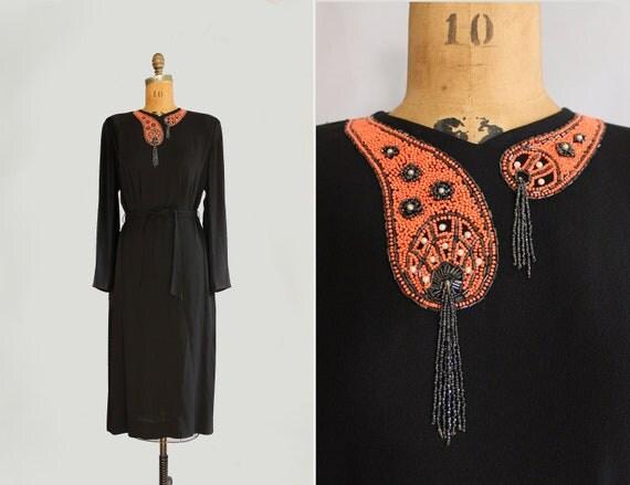 1940s dress - 40s beaded dress - big band swing era dress - size medium - black & orange