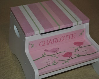 Kids Personalized 2 Step Stool and Storage Bench - Bye Bye Birdie