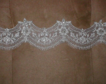 Beaded Embroidery Lace Trim in white or ivory