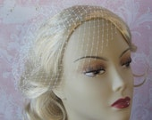 Short Birdcage Veil, Mini Bird Cage Wedding Veil, White, Ivory, Champagne Wedding Veil - VEGAS