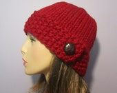 Red or Pick Your Color Hand Knit Hat