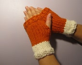 Orange and White or Pick Your Colors Hand Knit Fingerless Gloves - Orange and White Hand Knit Fingerless Gloves