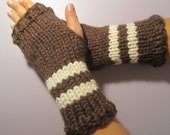 Brown or Pick Your Colors Hand Knit Fingerless Gloves - Brown Hand Knit Fingerless Gloves