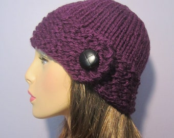 Purple or Pick Your Color Knit Hat with Genuine Leather Button
