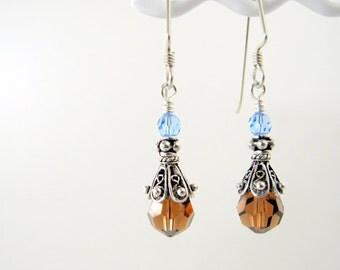 Blue and Brown Crystal Earrings