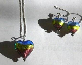 Stunning Multicoloured Murano Heart Necklace