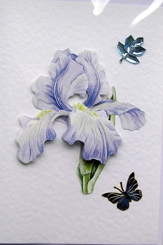 Blue Iris Hand-Crafted 3D Decoupage Card - Blank for any Occasion (1493)