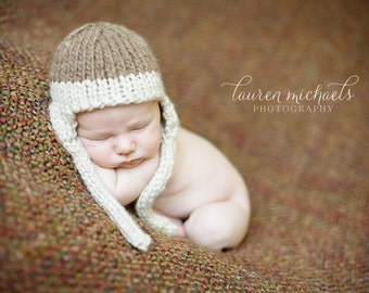 Hand Knit Baby Hat, Ear Flap, Earflaps, Blue Gray, Knitted Newborn Photo Prop, Infant Cap, 5 Colors to Choose From, Beanie