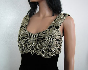 Vintage Black Velvet and Gold Lamé Trim Jessica McClintock Evening Gown