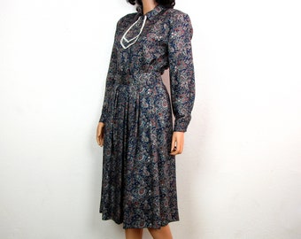 David Brooks Paisley Two Piece Pleated Skirt and Long Sleeve Blouse